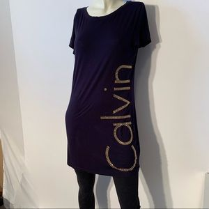 Calvin Klein T-shirt Dress. Medium navy blue